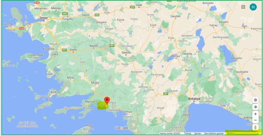 Dalyan'ın Haritadaki Yeri