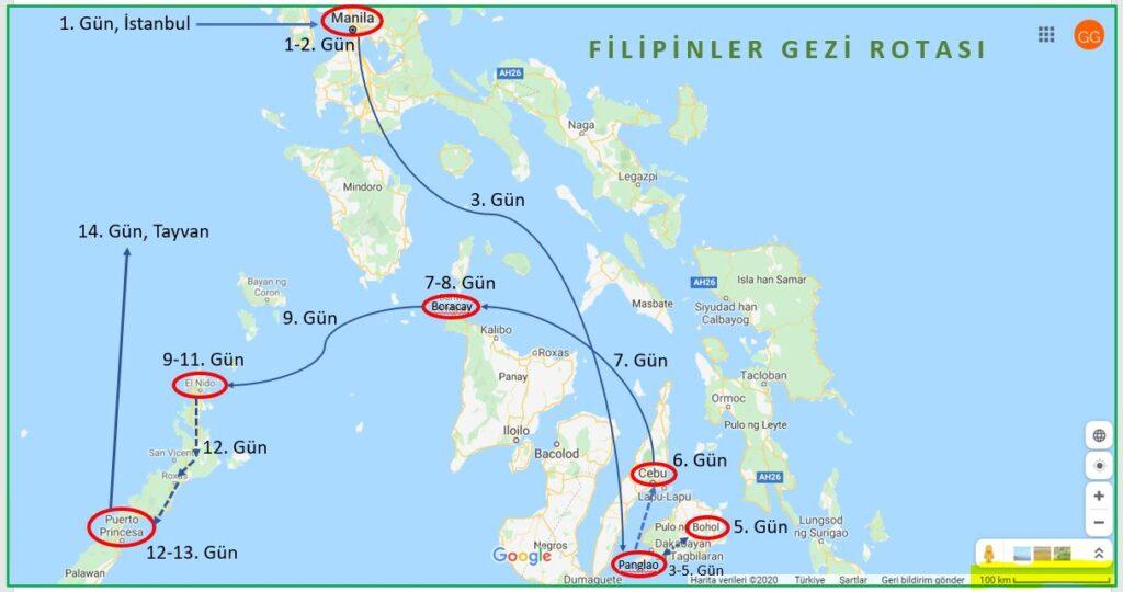 Filipinler Gezi Rotası
