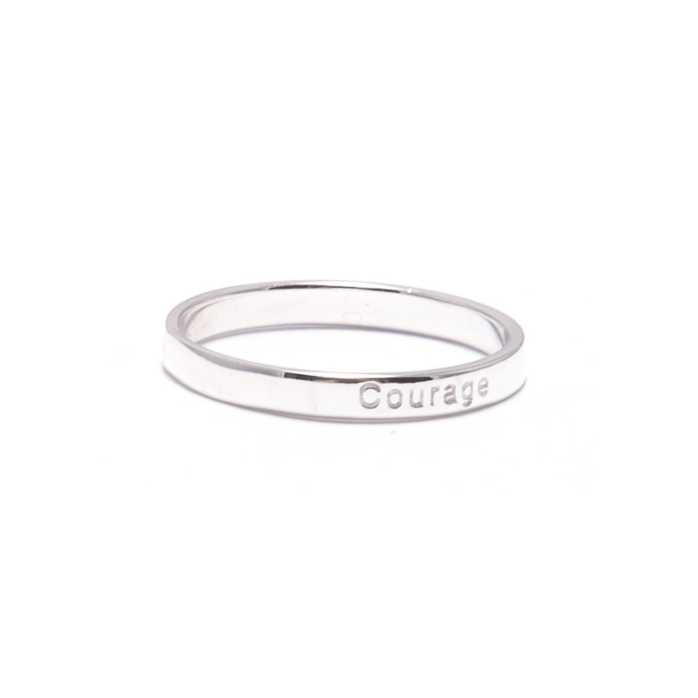 Silver stacking ring with courage inscription