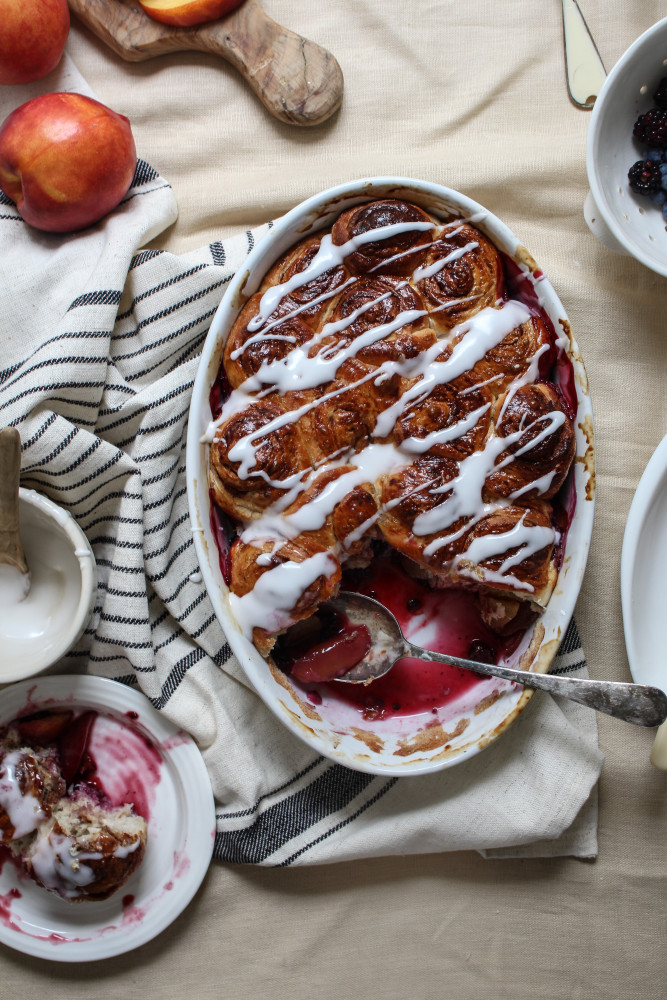 nectarine berry cinnamon roll bake-1-6