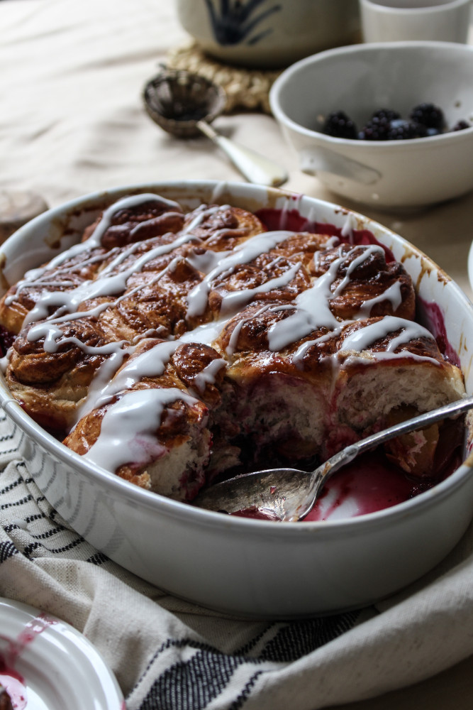 nectarine berry cinnamon roll bake-1-8