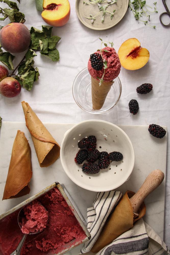 peach blackberry sherbet and cones-1-18
