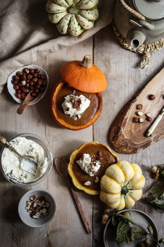 pumpkin pies baked inside squashes-1-11