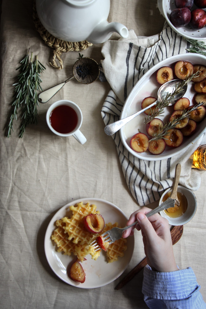 rosemary roasted plums and waffles-1-14