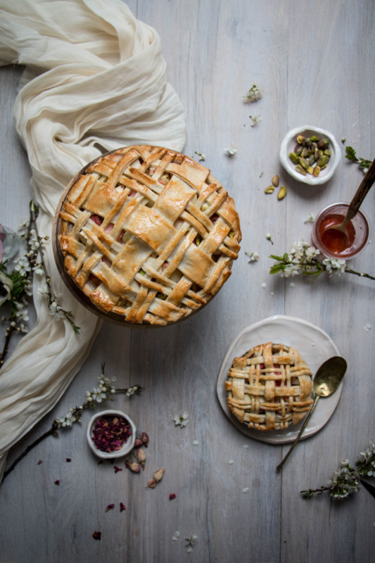 apple rose and rhubarb and pistachio pie-1-12