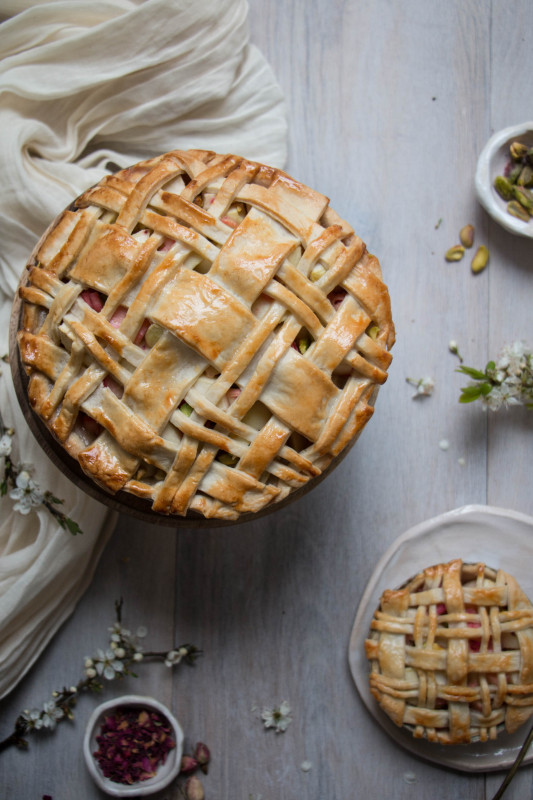apple rose and rhubarb and pistachio pie-1-18