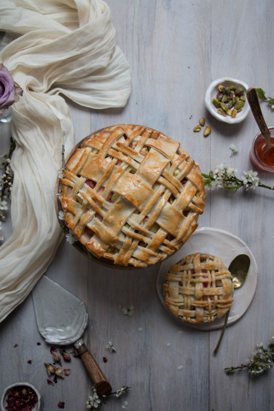 apple rose and rhubarb and pistachio pie-1-24