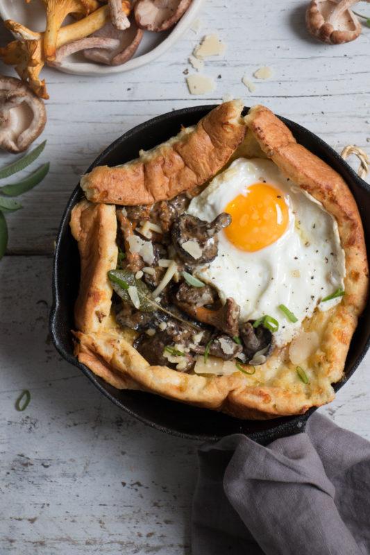 savoury dutch baby pancake with creamy mushrooms-1-5