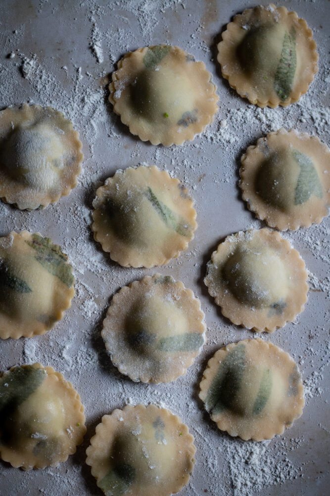 pea and mint and ricotta ravioli