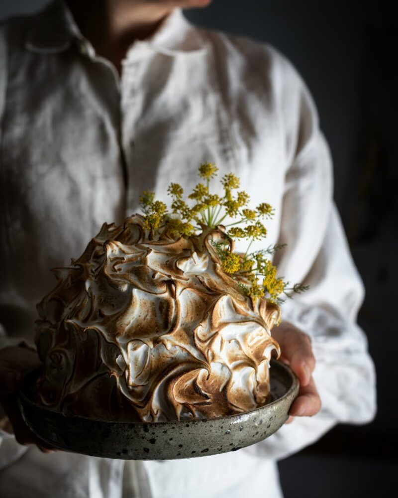 Fennel Pollen Honey And Ricotta Ice Cream Baked Alaska
