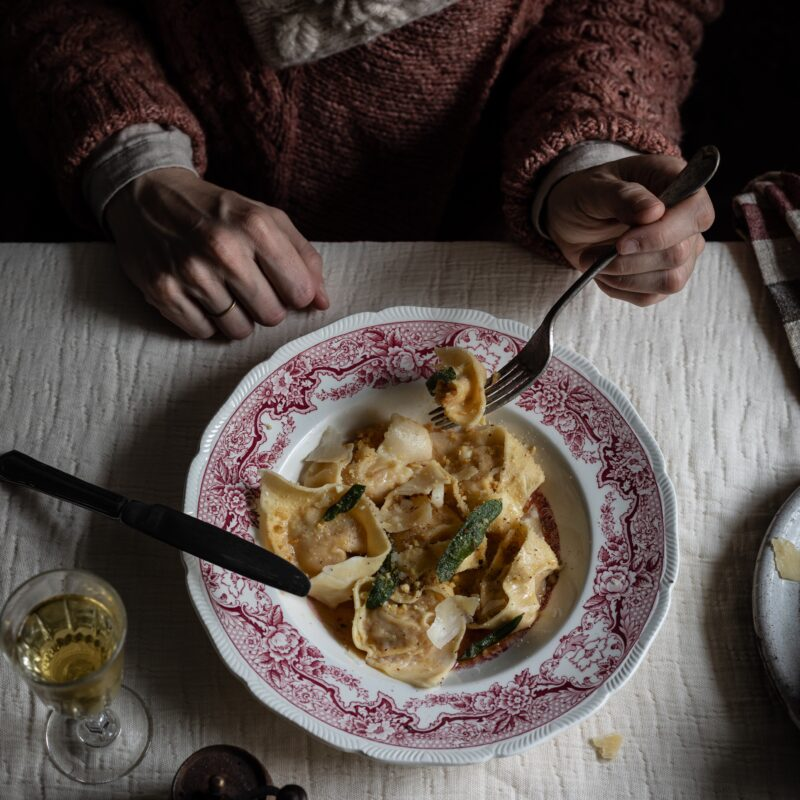 chestnut and pumpkin cappelletti