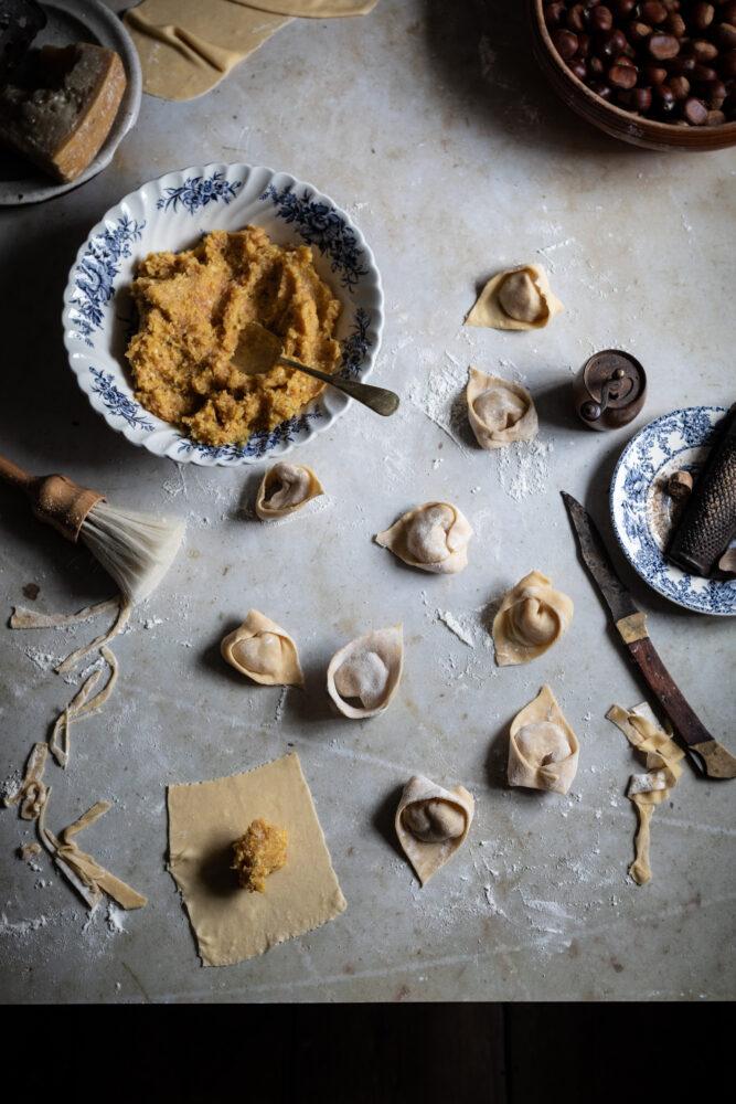chestnut and pumpkin cappelletti