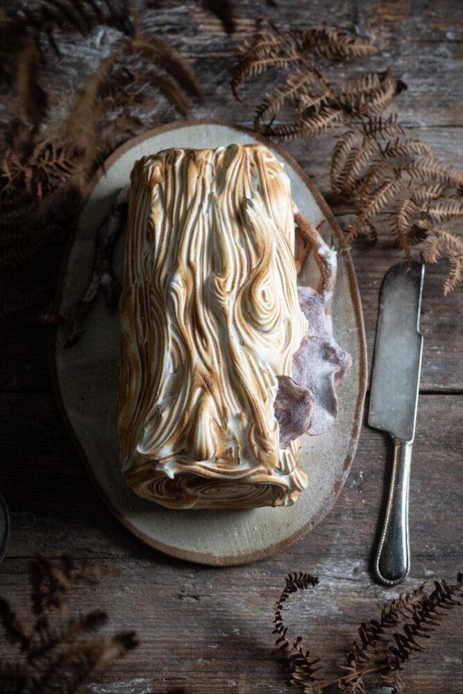 Baked Alaska yule log