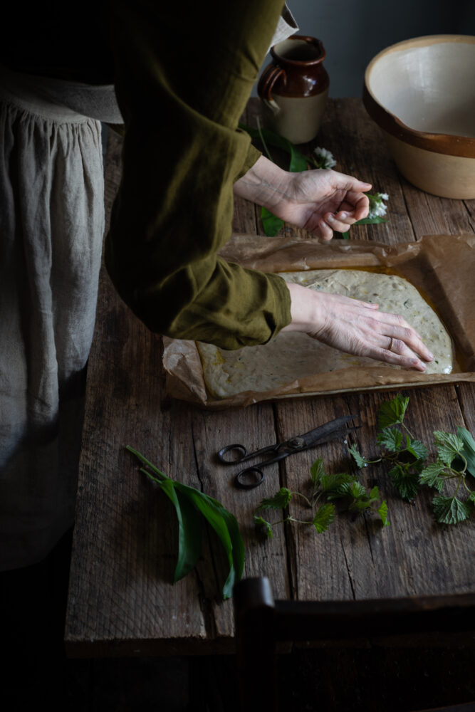 Making focaccia sourdough