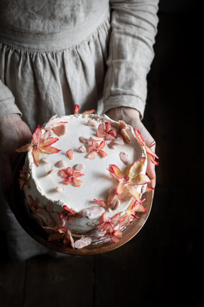 raspberry rhubarb and white chocolate cake