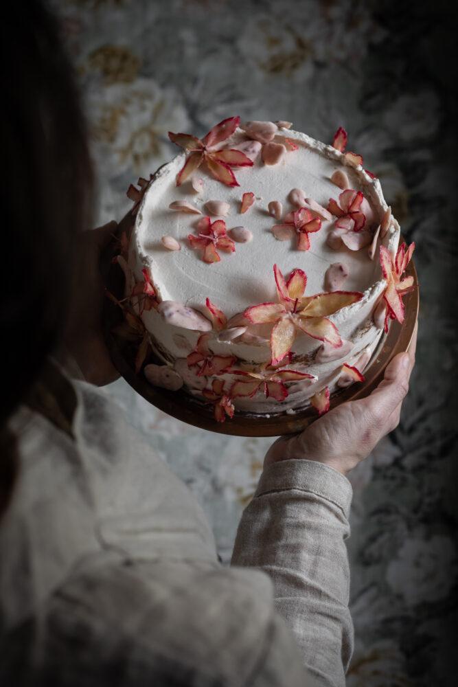 raspberry rhubarb and white chocolate cake