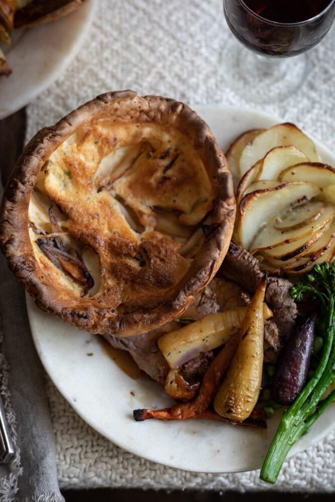 giant caramelised onion yorkshire puddings