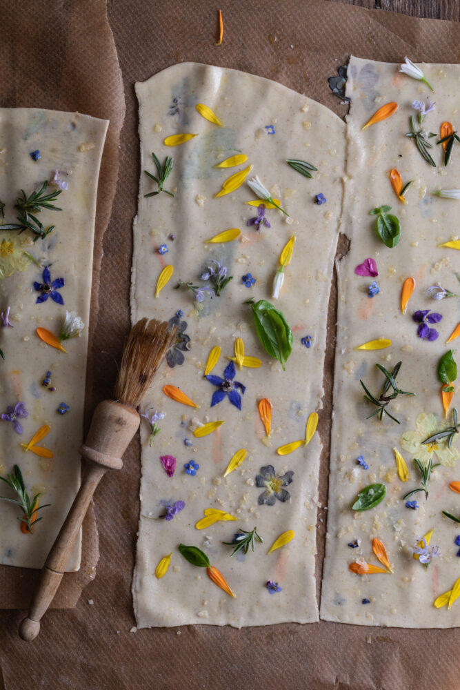 sourdough flower crackers