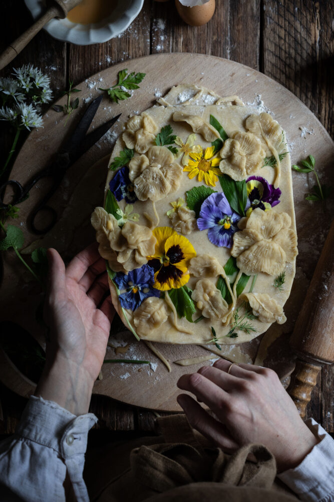 pressed flower pie