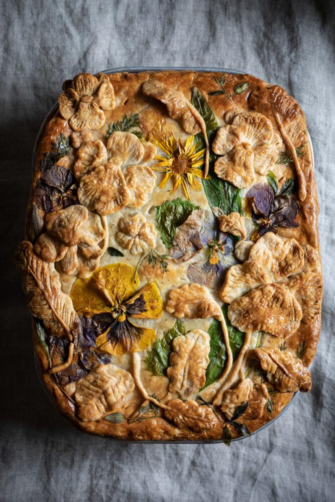 pressed flower pie