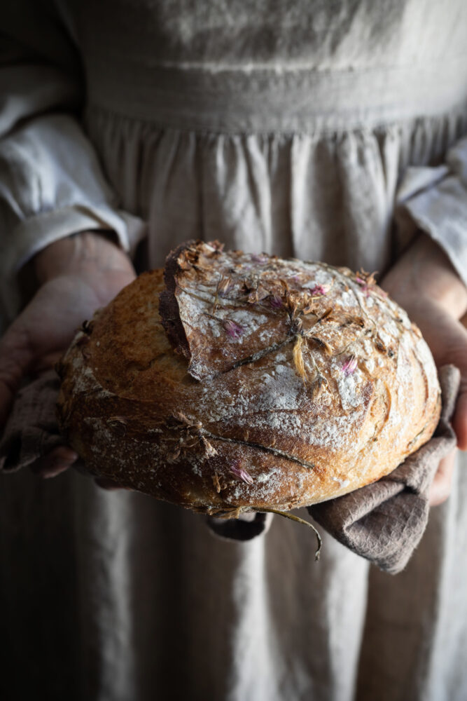 sourdough with edible flower