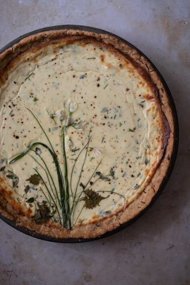 Ricotta and parmesan cheesecake tart