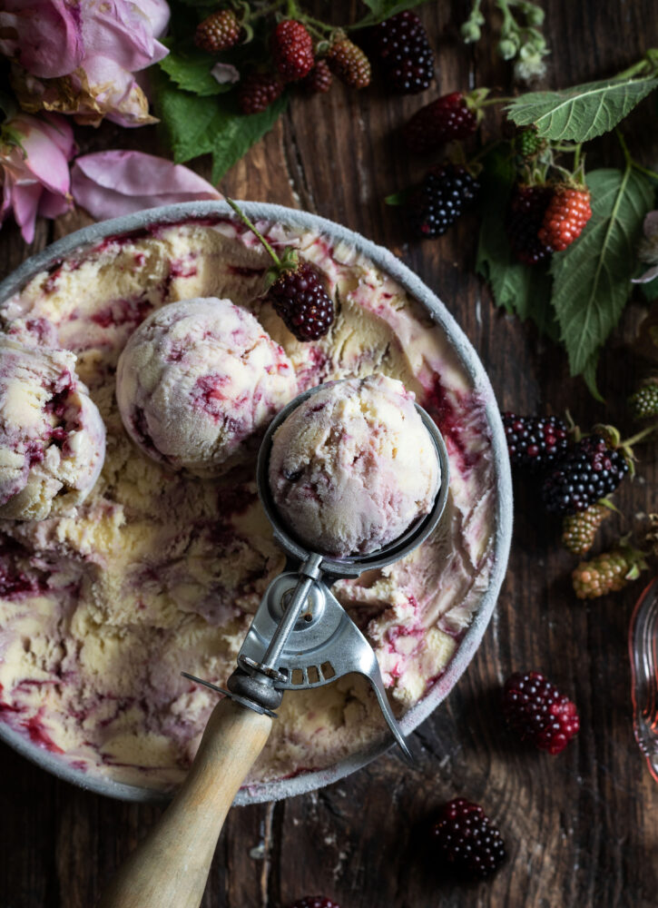 blackberry rose swirl ice cream