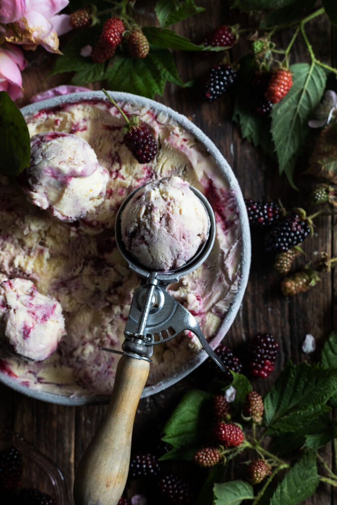 blackberry rose swirl ice cream scoop