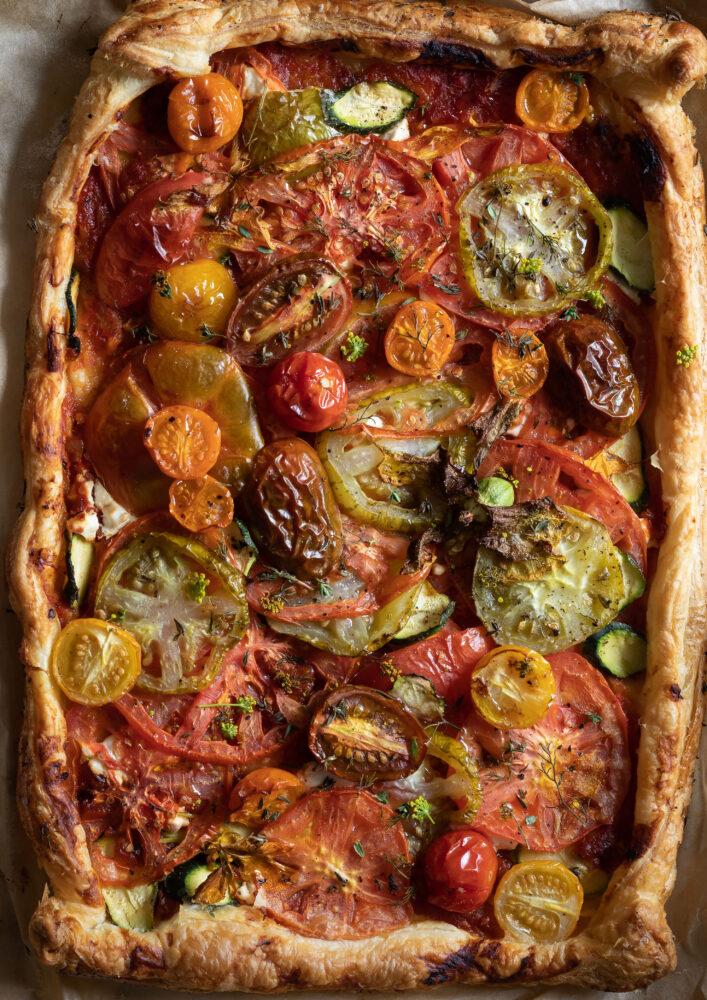 tomato puff pastry tart baked