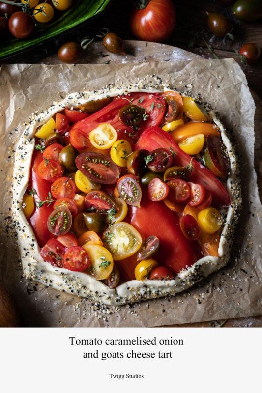 tomato caramelised onion and goats cheese tart