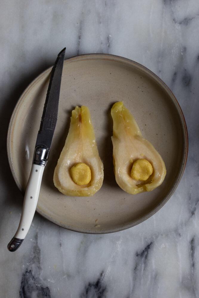 poached pear pie prep