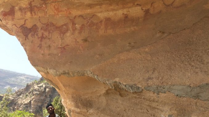 Ethiopian rock-shelter site, including rock-art of domestic cattle