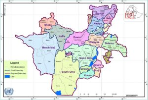 Map showing the boundaries of the regions in Southwestern Ethiopia.