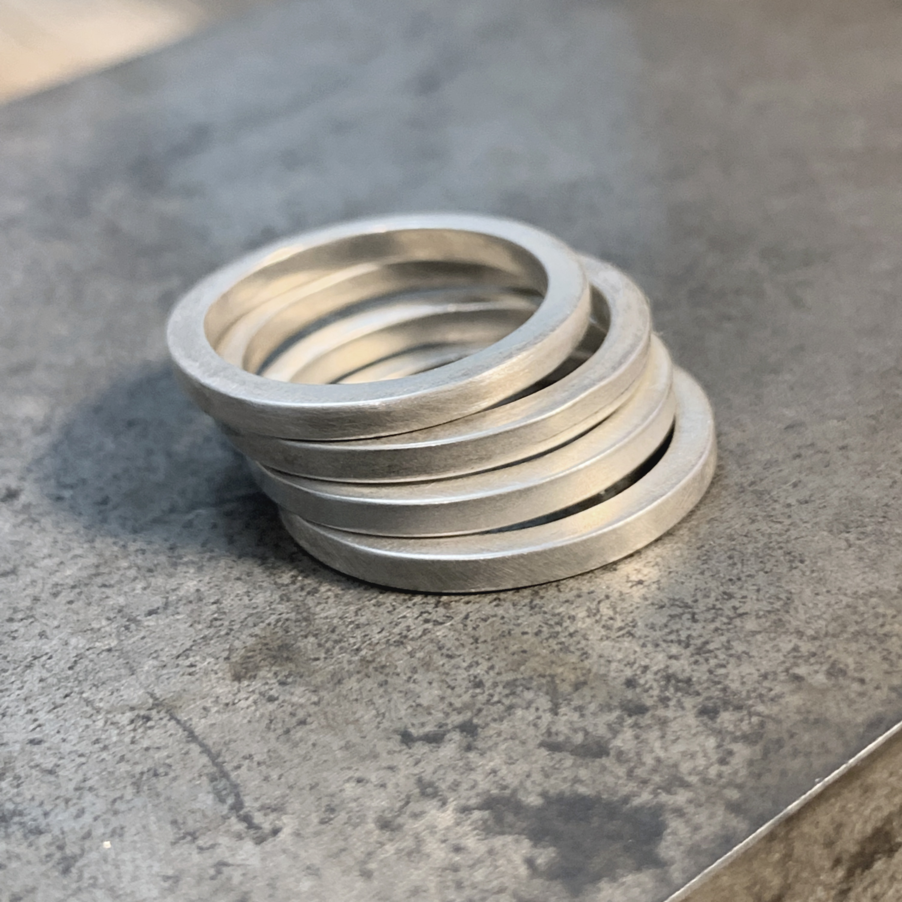 Square stacking silver ring
