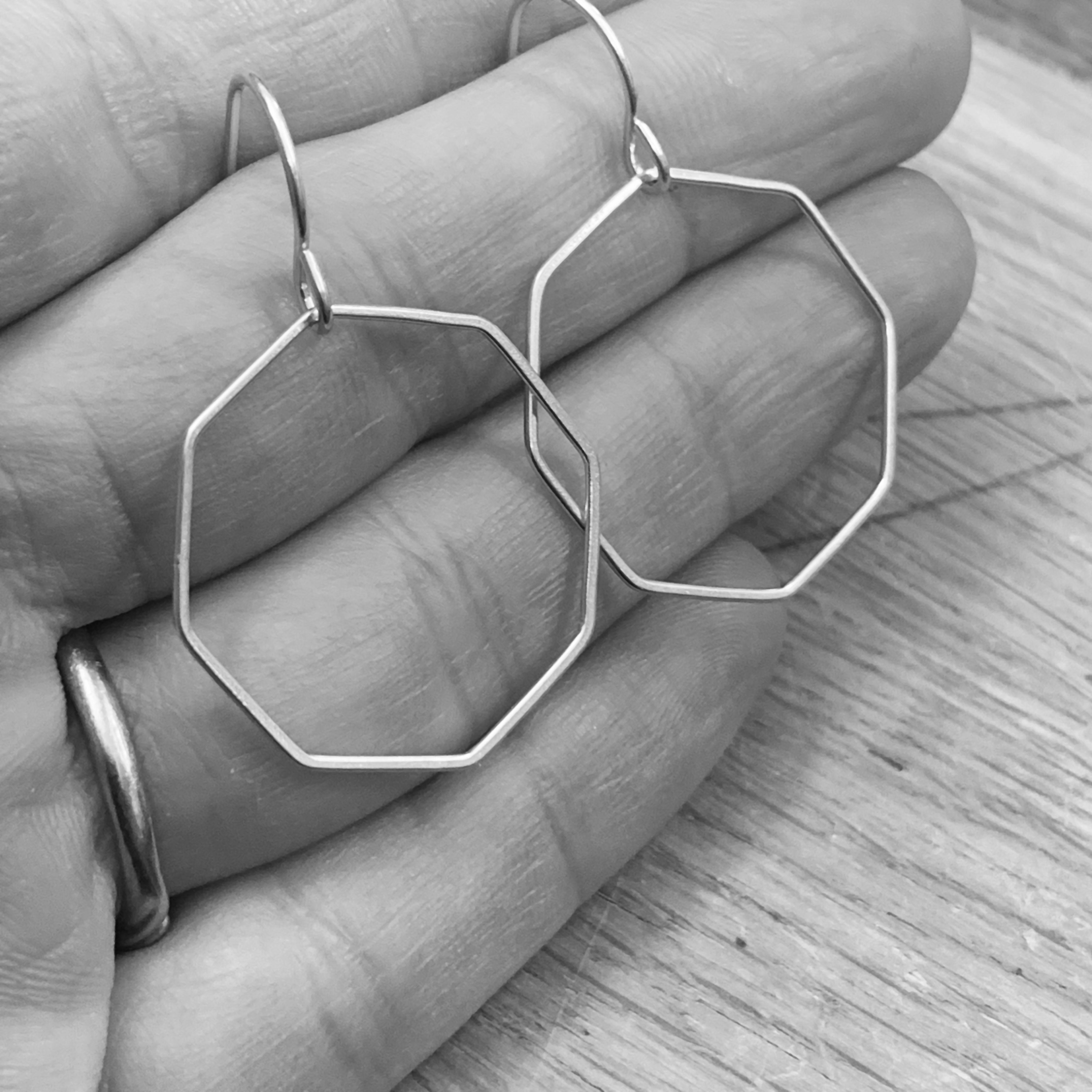 Octagon silver earrings