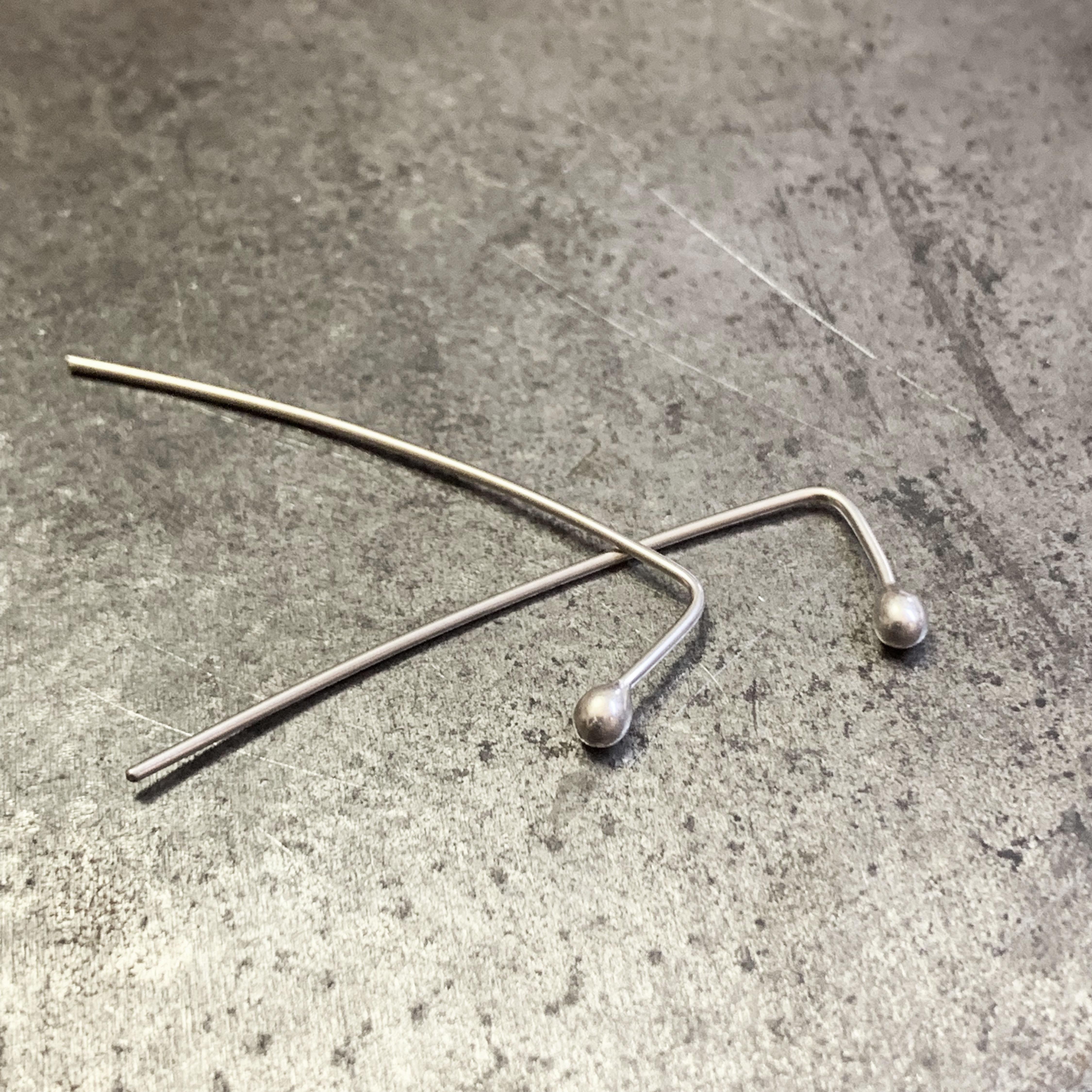 Long Bud silver earrings