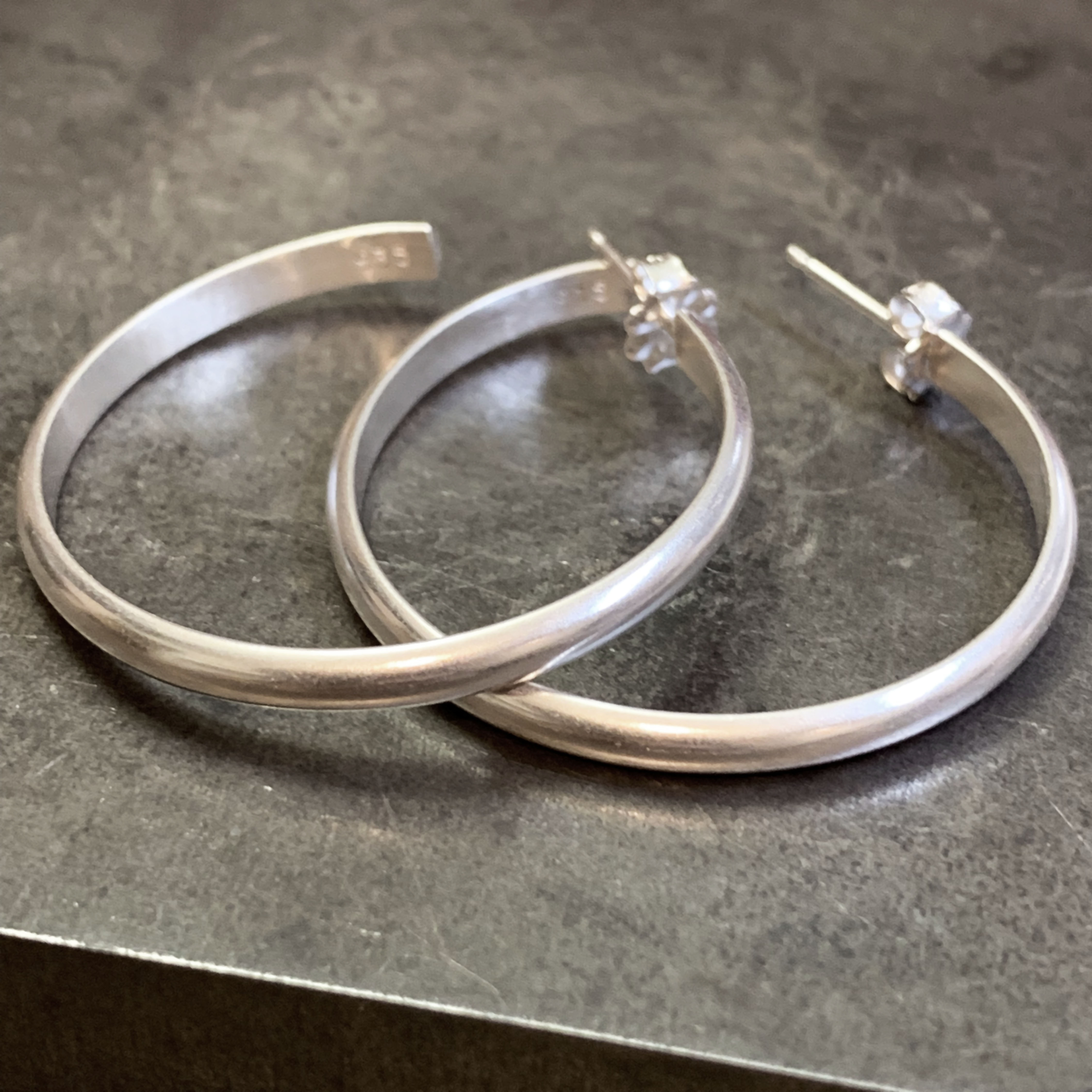 Classic silver hoops large