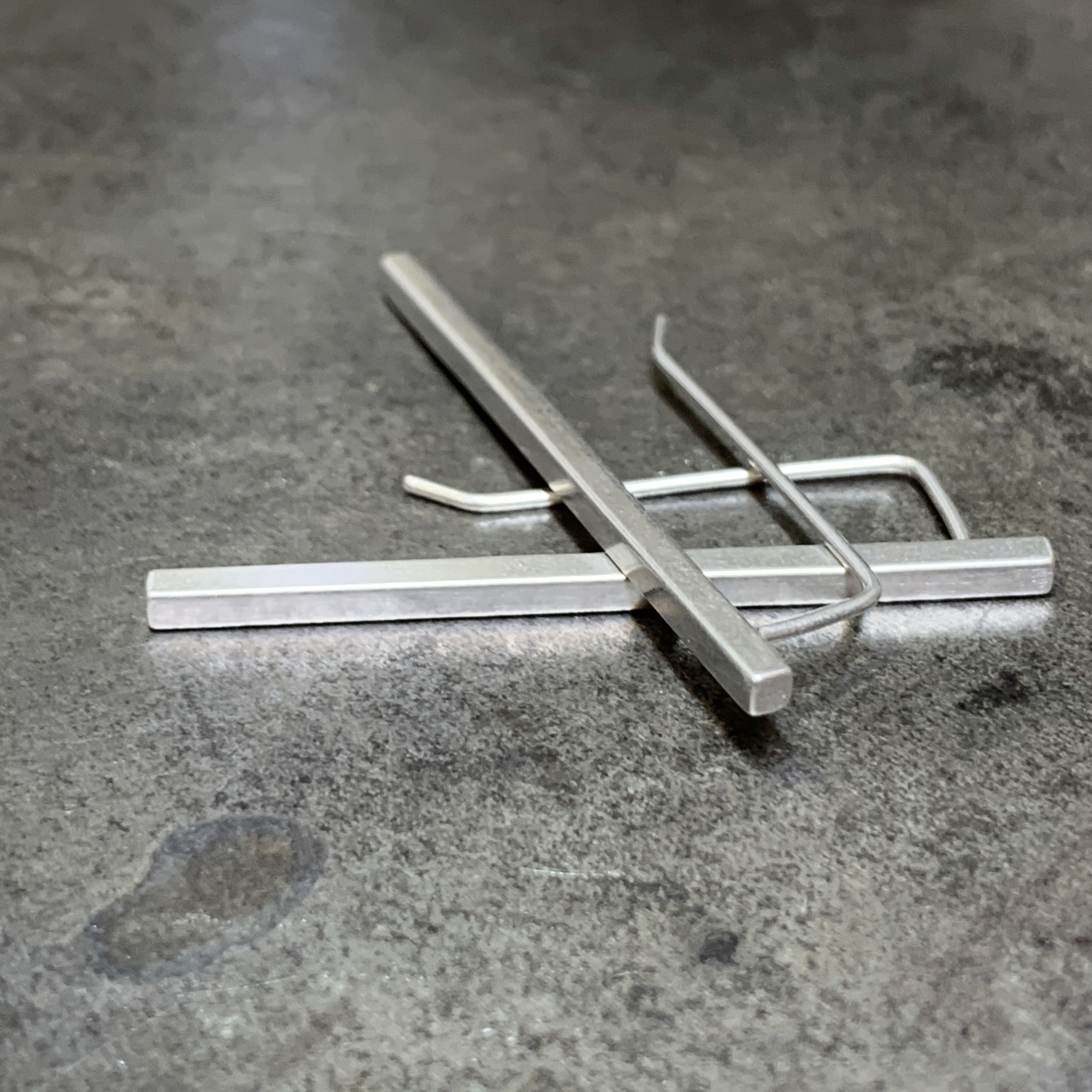 Stick silver earrings