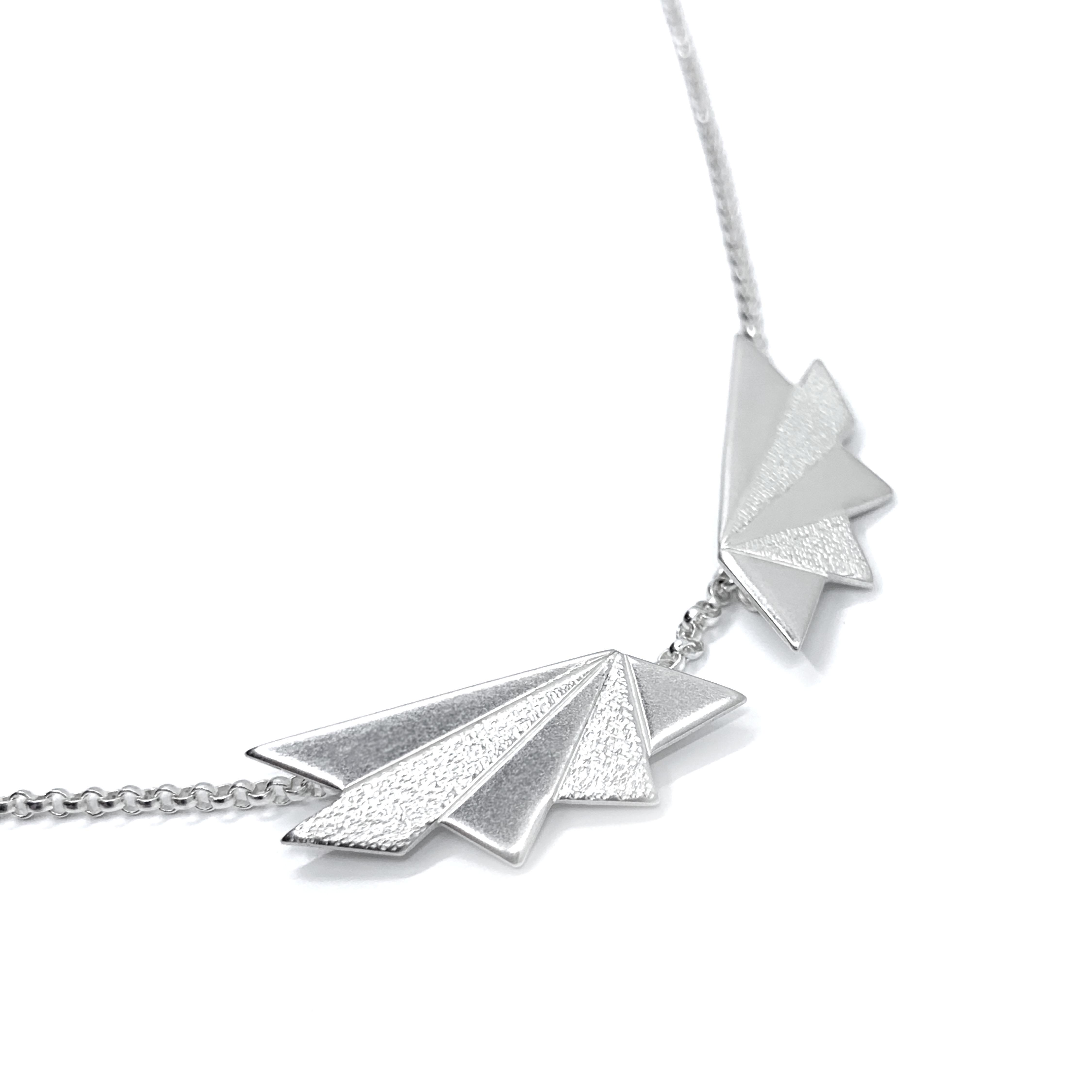 Contrasts 2 silver collar necklace