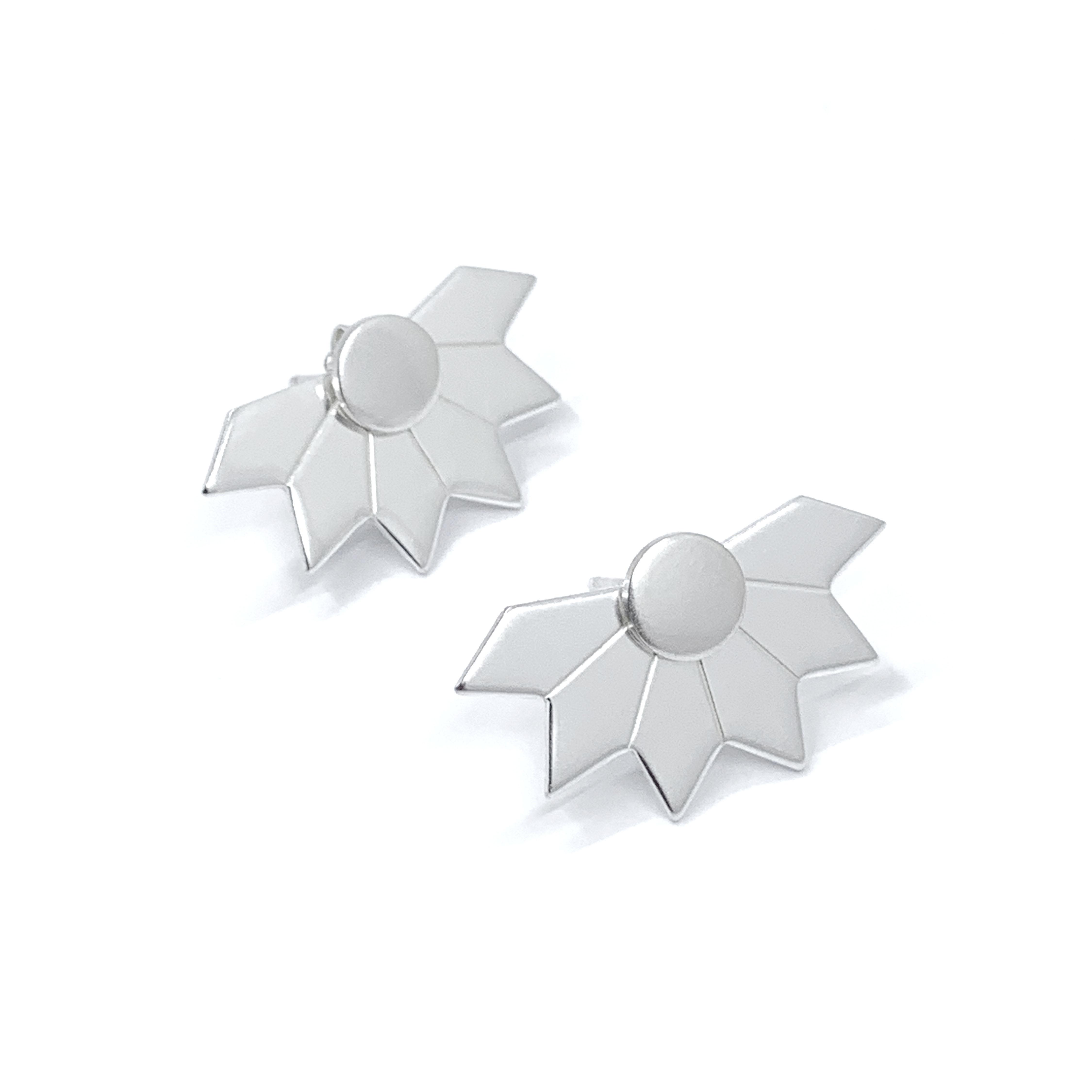 Star fragment silver ear jackets