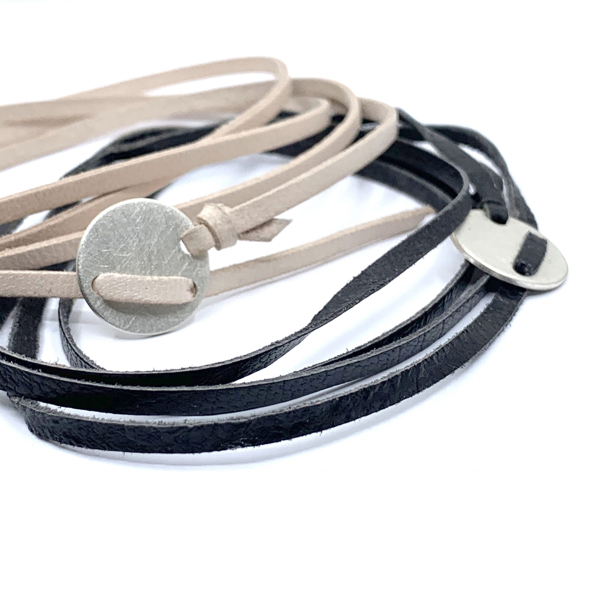 Unisex silver and leather bracelet
