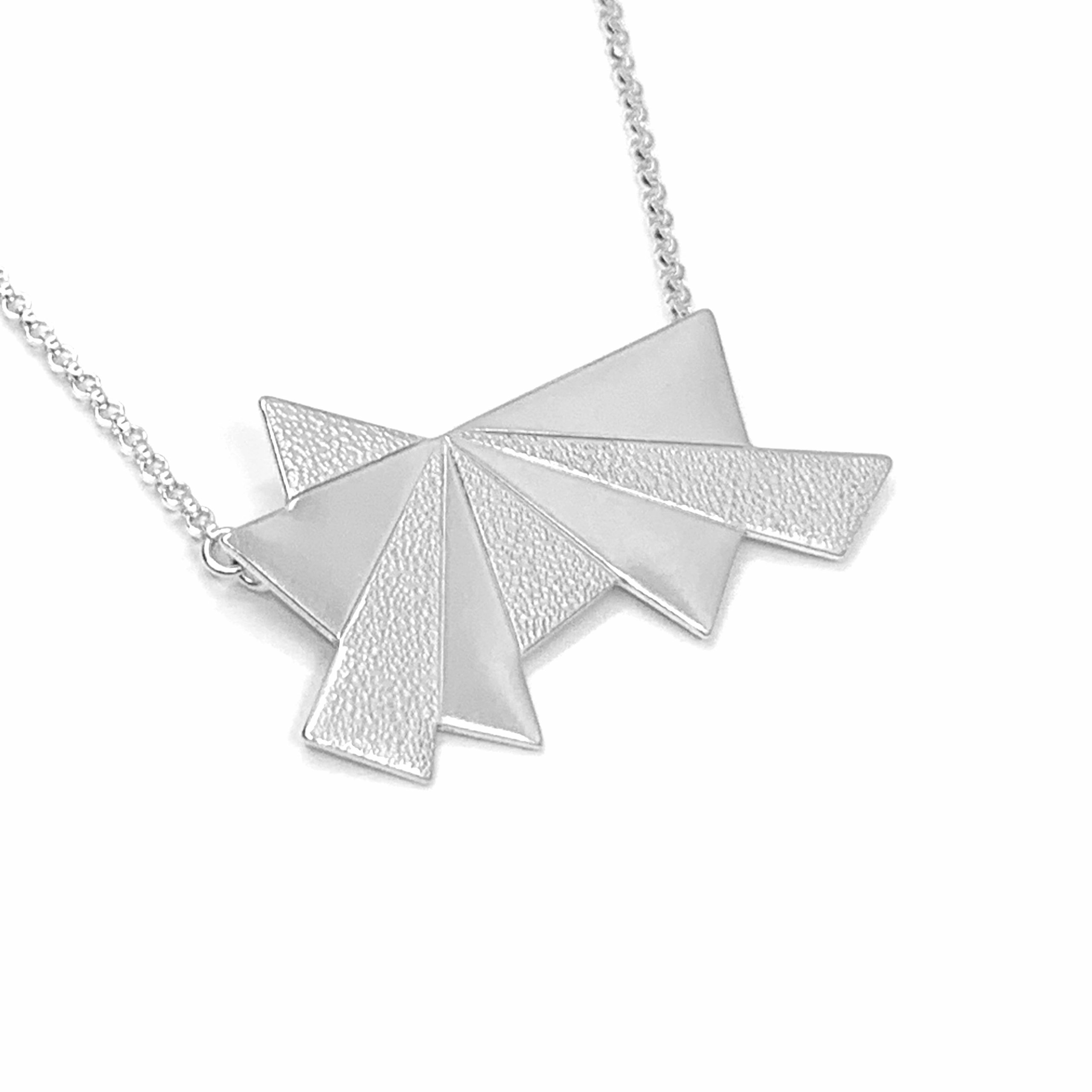 Dawn textured silver necklace