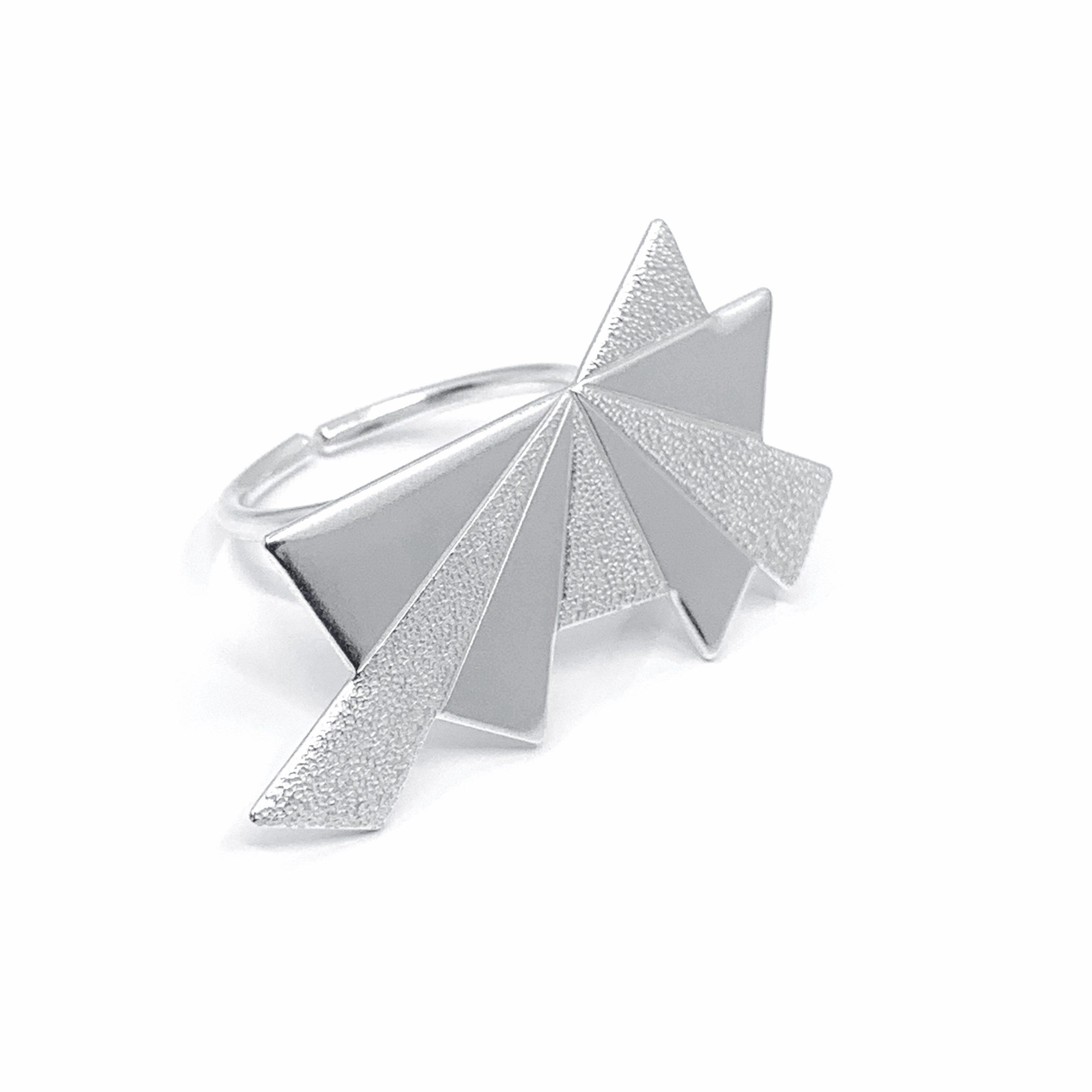 Dawn statement textured silver ring