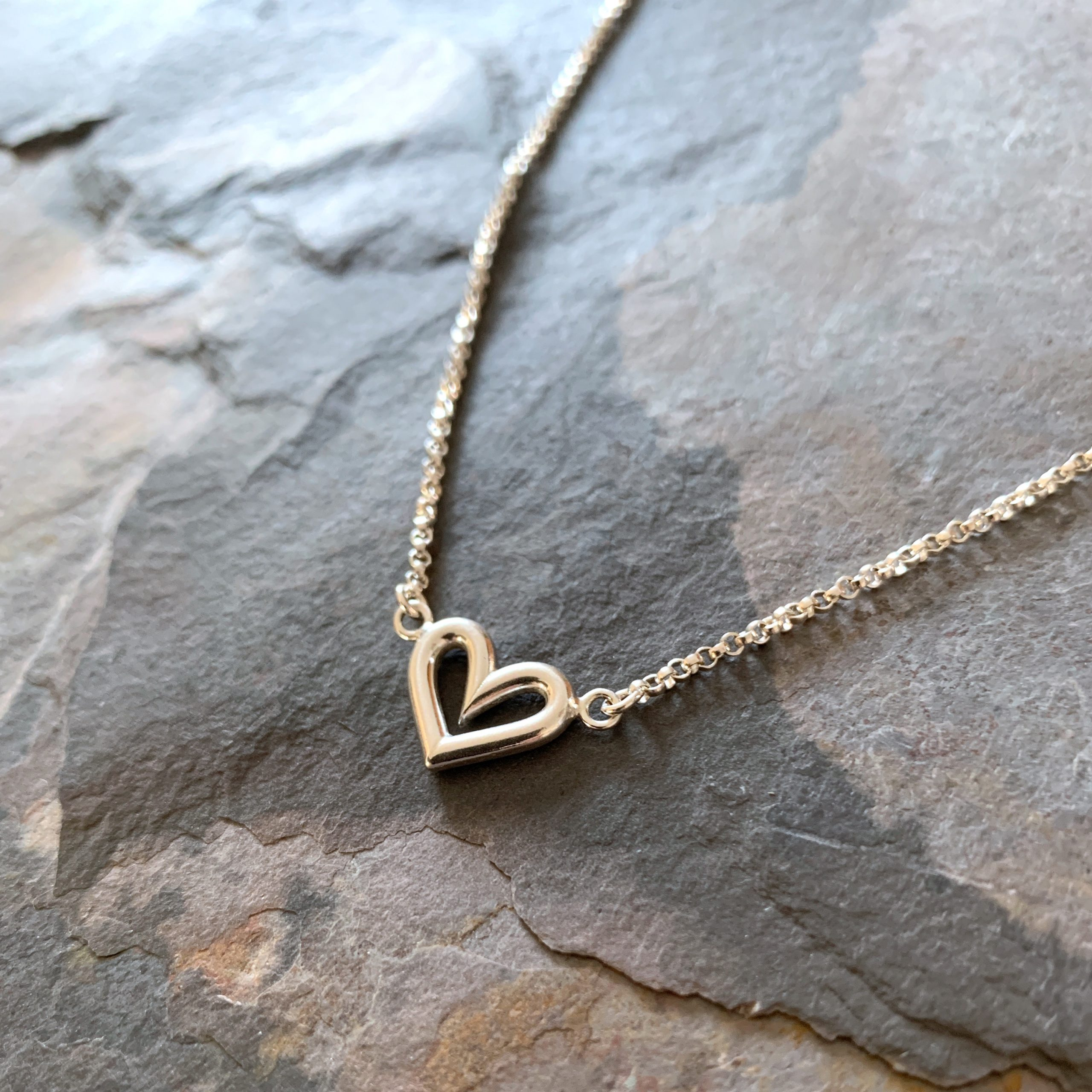 Heartbeats silver heart suspended necklace no6