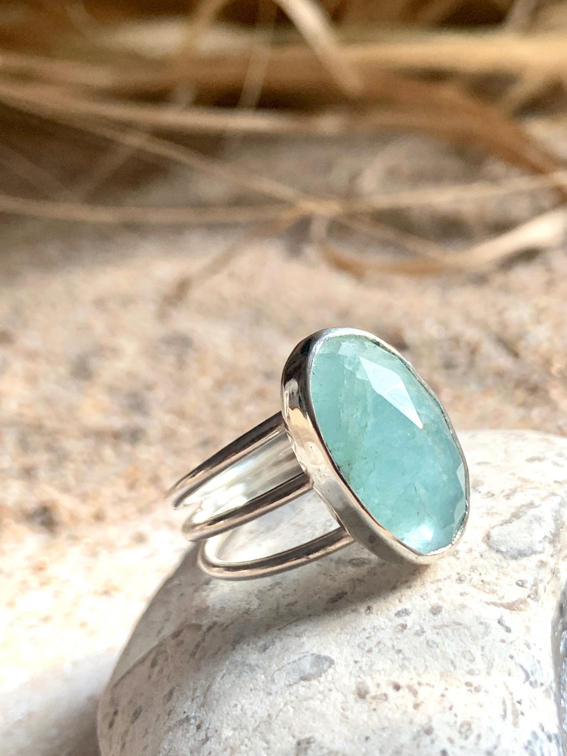 Sunshine aquamarine ring size US 7,75 OAK no2
