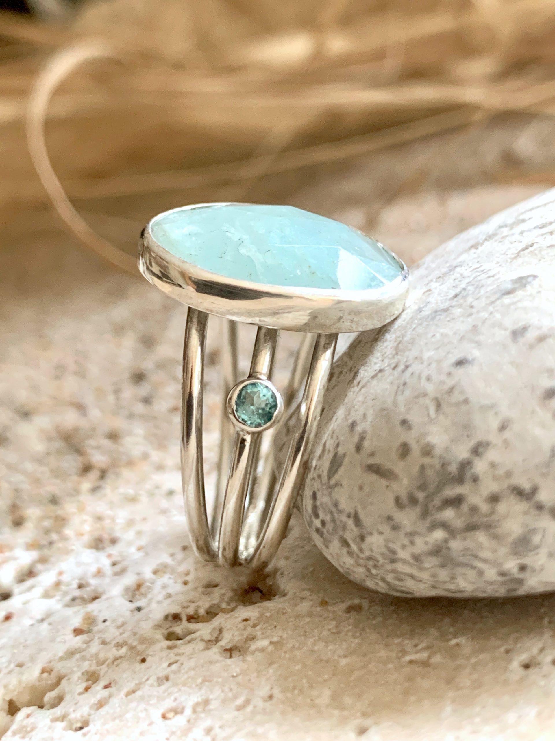 Sunshine aquamarine and apatite ring size US 9,5 OAK no1