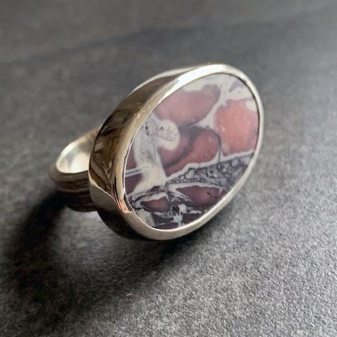 WOVEN porcelain jasper ring size US 8.25 OOAK