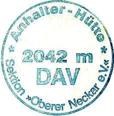 Hüttenstempel, Anhalter Hütte