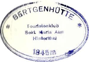 Bertgenhütte, Hüttenstempel
