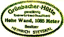 Grünbacher Hütte - Hohe Wand